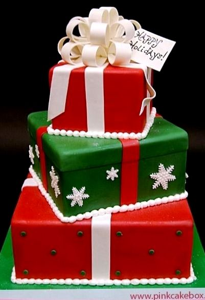 #Christmas #cakes wrapped gift shaped ToniK ℬe Meℜℜy red white green beautiful!