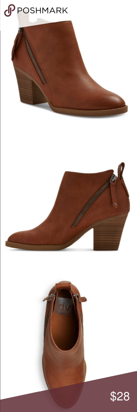 """Brown DV Ankle Boots Target, women's DV Jameson Double ZIP Booties in Cognac, EUC, 3"""" block heel for stable lift, faux leather upper, double zip for easy on and off, easy to clean with  a damp cloth Shoes Ankle Boots & Booties"""