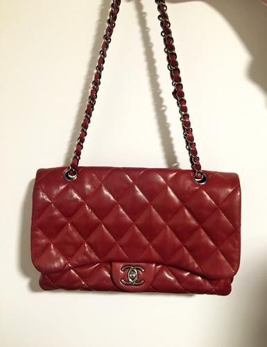 Chanel Jumbo Flap Multisection Red Lambskin bag   Lollipuff