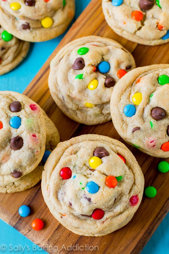 Chewy Chocolate Chip Cookies with M&Ms - extra thick, extra soft, no mixer required!