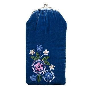 """An """"oh so sweet"""" glasses case complete with its sweet vintage clip closure. Made of luxurious velvet, with intricate hand embroidered and beaded detail."""