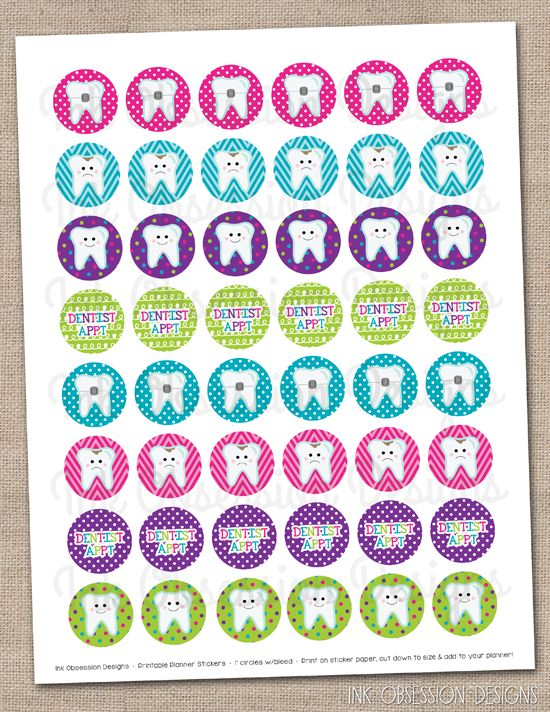 Dentist Planner Stickers Instant Download DIY Printable PDF with Teeth Cavities & Braces