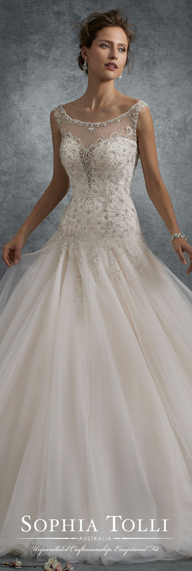 Sophia Tolli Fall 2017 Wedding Gown Collection - Style No. Y21748 Ursa - sleeveless tulle ball gown wedding dress with embroidered plunging sweetheart bodice with dropped waist and cap sleeves