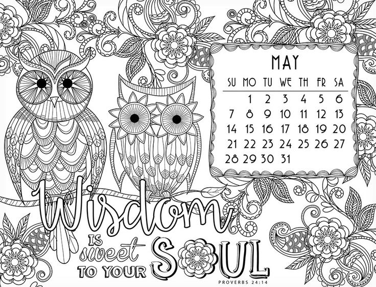 April Coloring Pages For Adults : Coloring calendar inside page for adults