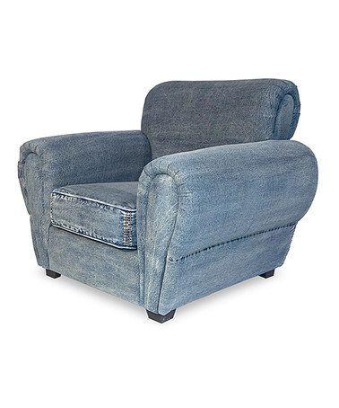 This Denim French Lounge Chair by Sarreid Ltd. is perfect! #zulilyfinds