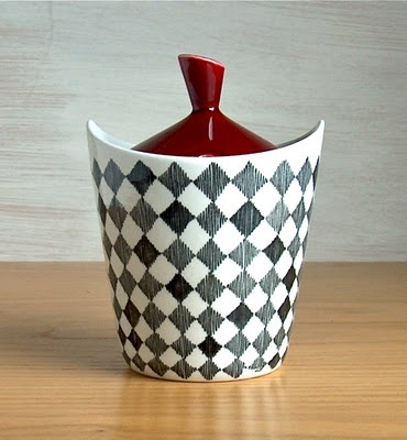 """Marianne Westmans, Rörstrand, """"Red Top""""-series. You just got to love the shape of this marmalade pot."""