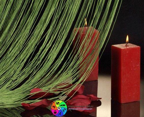 Нитяная занавеска зеленая  DL00020 / String thread curtains Green