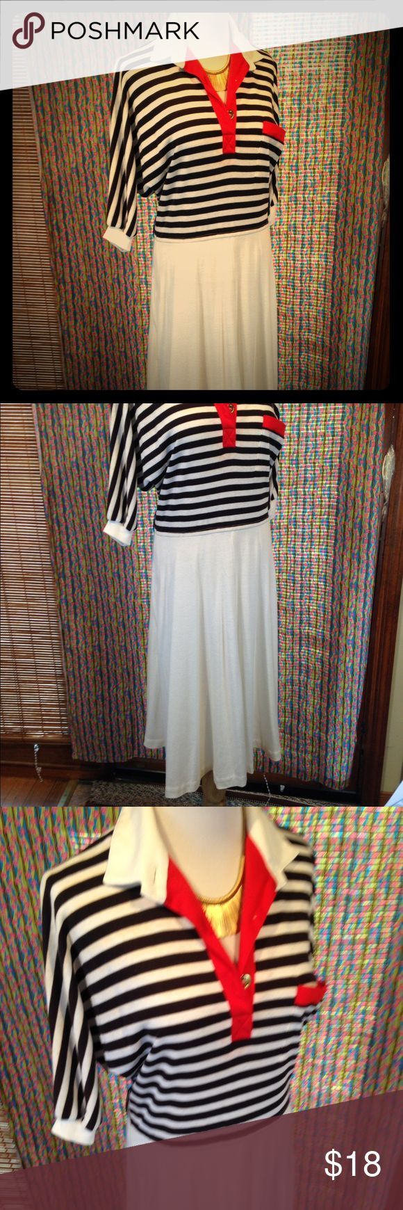 Vintage 1X or 2X Sailor stripes dress I bought this from a vintage store and absolutely loved it before I lost weight. It does have some light tan staining from age. Please see photos. The stripes with the popping red accent is sure to stand out. I usually paired with a cardigan, so the light staining was never visible. Dresses Midi