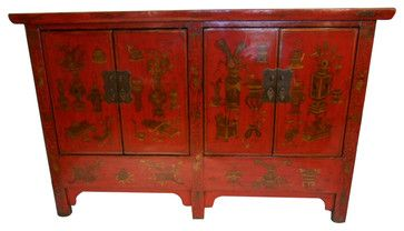$1,050 Five Legged Oriental Red Lacquer Cabinet Hand Painted Chinoiserie - asian - Buffets And Sideboards - Oriental Furnishings