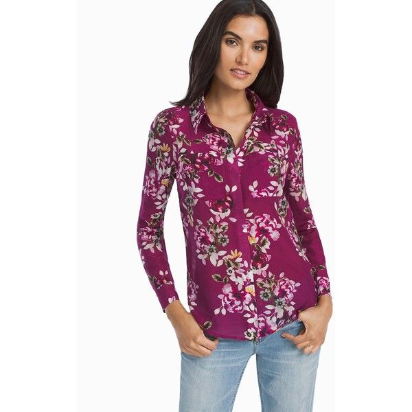 White House Black Market Floral Button-Up Shirt ($88) ❤ liked on Polyvore featuring tops, long sleeve button up shirts, petite long sleeve tops, purple top, floral tops and purple button down shirt
