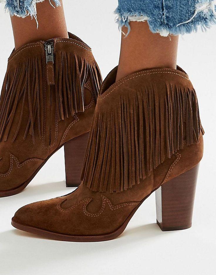 Sam Edelman - Stivali stile cowboy scamosciati color cioccolato con frange  #fringe #boots #shoes