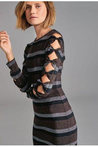 3ed0d359e185d6 Ted Baker Black Metallic Stripe Bodycon Dress