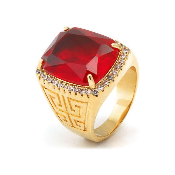 King Ice 14K Gold Ruby Crown Julz Ring ($49) ❤ liked on Polyvore featuring men's fashion, men's jewelry, men's rings, gold, mens ruby rings, mens 14k gold rings, mens gold ruby ring, mens gold rings and mens yellow gold ruby rings