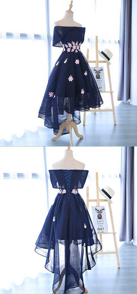 A-Line Dark Navy High-Low Appliques Short Homecoming Dress