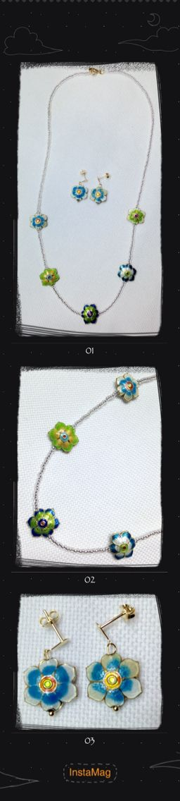 Jewerly, Cloisonne, Flower, Necklace