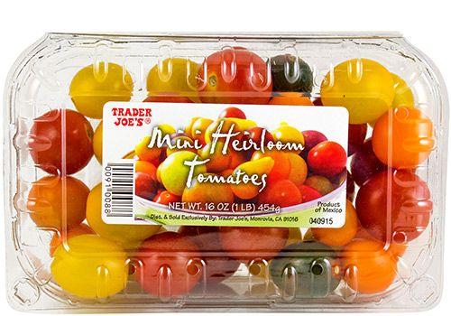 Trader Joe's Mini Heirloom Tomatoes 454g $2.99 トレーダージョーズ ミニエアルームトマト こちらを使ったレシピ「アーティチョークとキヌアのサラダ」 http://traderjoesgohan.com/artichokes-quinoa-salad/