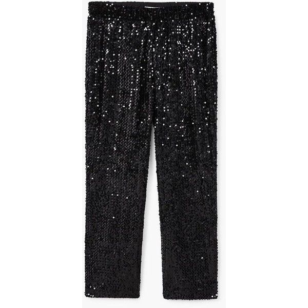 Sequined Trousers (231165 PYG) ❤ liked on Polyvore featuring pants, mango pants, sequin embellished pants, mango trousers, stretch waist pants and sequin pants