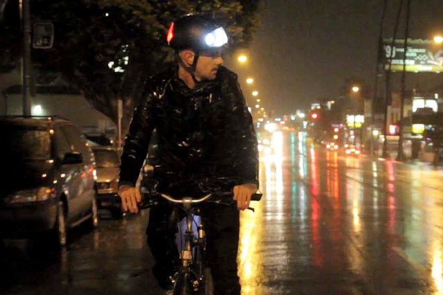 Torch-bicycle helmet with integrated lights. I think this solves a lot of problems with biking. Bike lights only go in one direction, and I'm always afraid of it falling off. This helmet provides both safety and style.