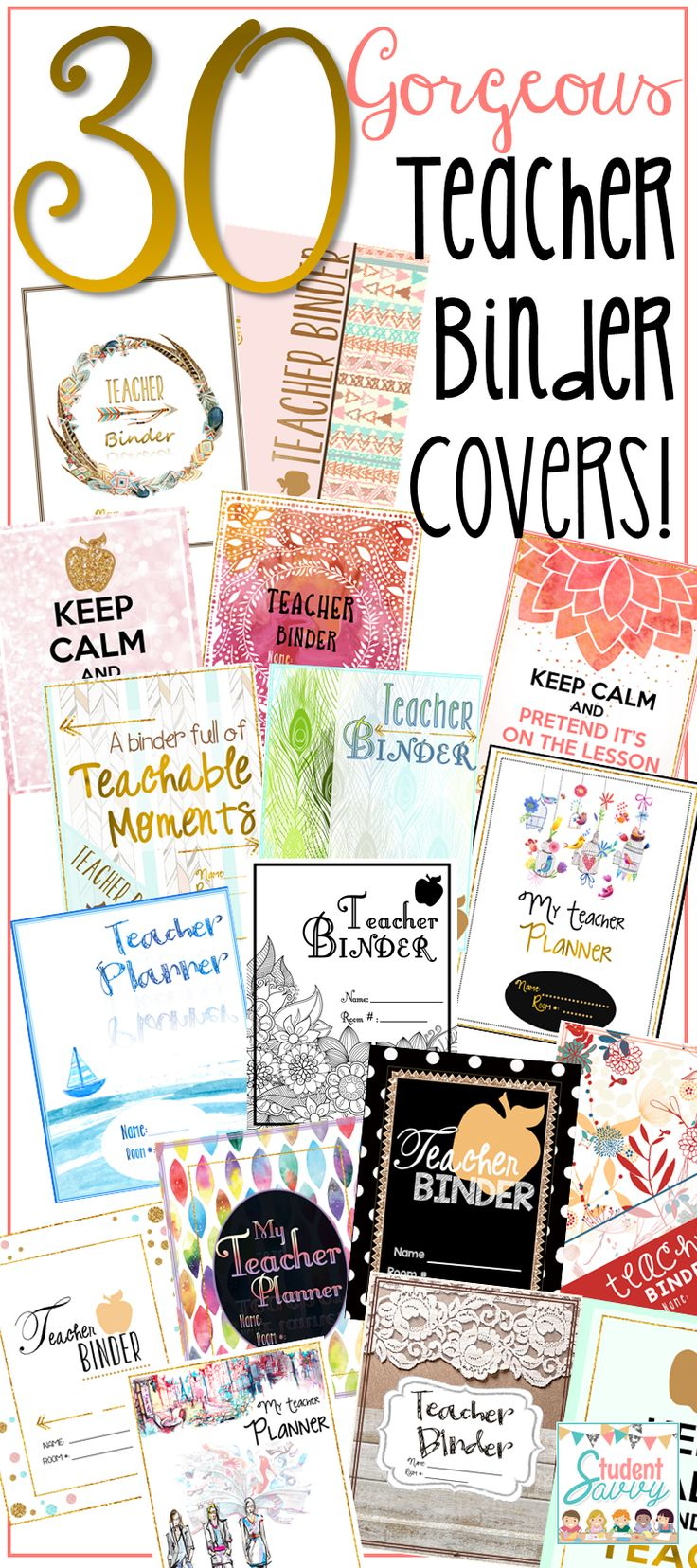 Teacher Binder for 2017 - 2018. SO many different binder styles (spines included) to choose from! This resource is updated every year! It also contains teacher planning pages (full calendar, lesson planning, grade book, centers, attendance, note-taking,checklists, and much more!) - over 200 pages total!