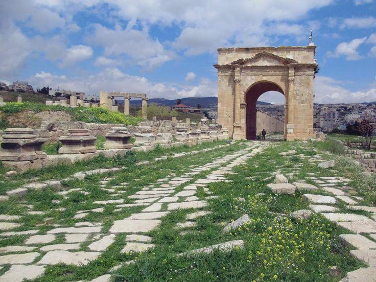The Cardo Maximus ends at the North Gate of ancient Roman Gerasa, now Jerash, Jordan.