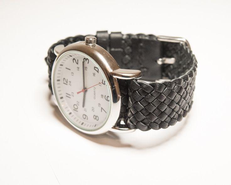 Kangaroo leather plaited strap