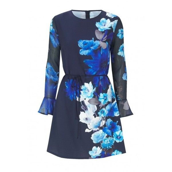 Sistaglam Jessica Wright Regina Shift Dress in Blue Floral ($78) ❤ liked on Polyvore featuring dresses, blue dress, party dresses, long sleeve dresses, summer party dresses and long-sleeve shift dresses