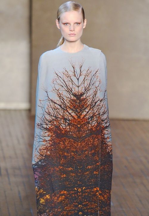 Nature Print Fashion - photographic trees, bold mirror print dress // Akris