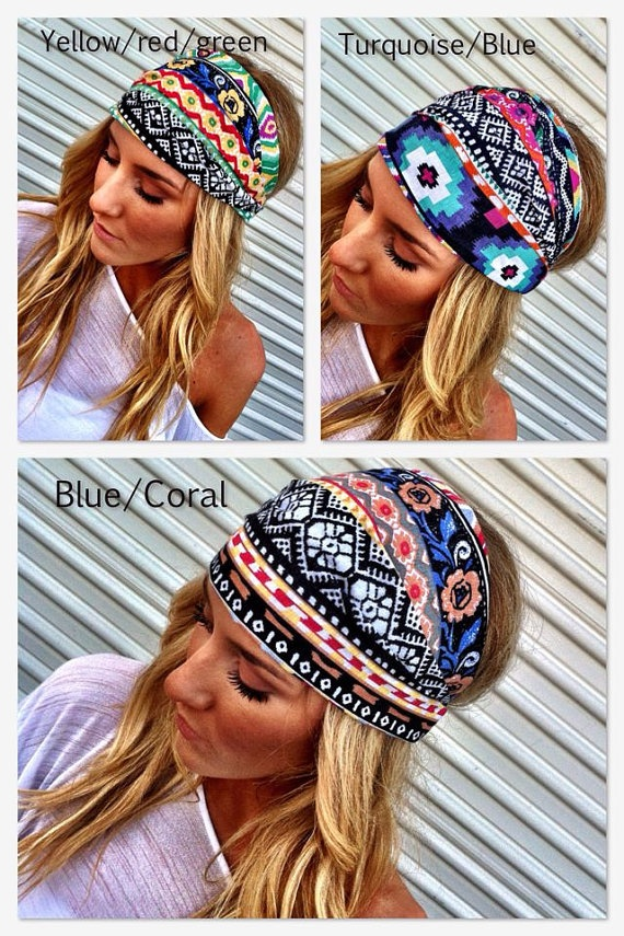 Aztec Boho Headband Cotton Wide Turban Head Scarf by ThreeBirdNest, $18.50