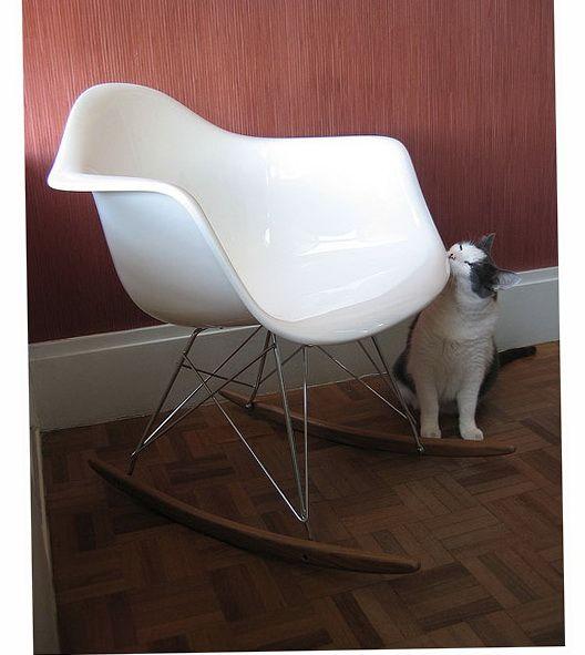 Cat biting white Eames RAR Rocker