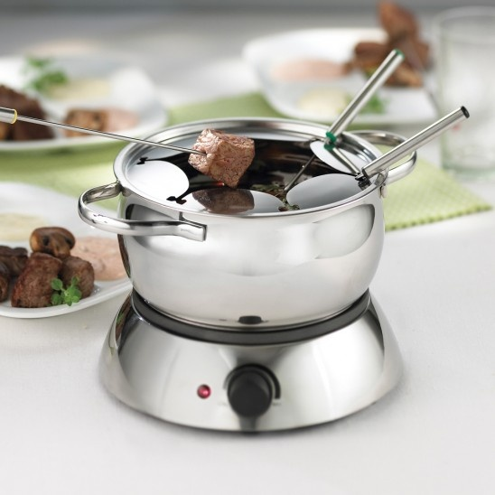 Trudeau stainless steel electric fondue set for 6 people