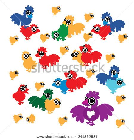 Vector cartoon chicks, chickens and roosters - stock vector #shutterstock  #funny #farm #chick #chicken #clip #cock #colorful #crowing #cute #design #easter #egg #fabric #farm #fowl #fun