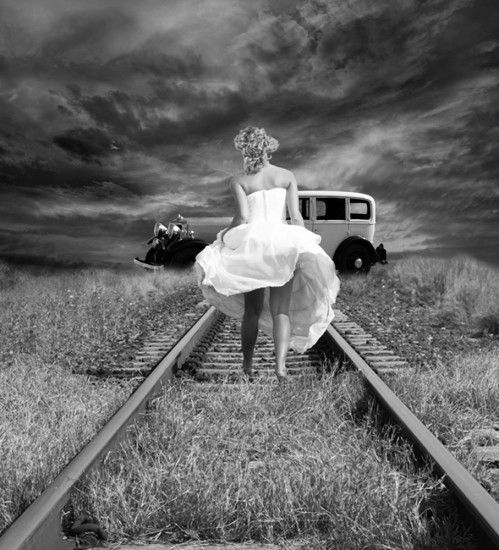 Vintage black and white photography black and white girl railway vintage