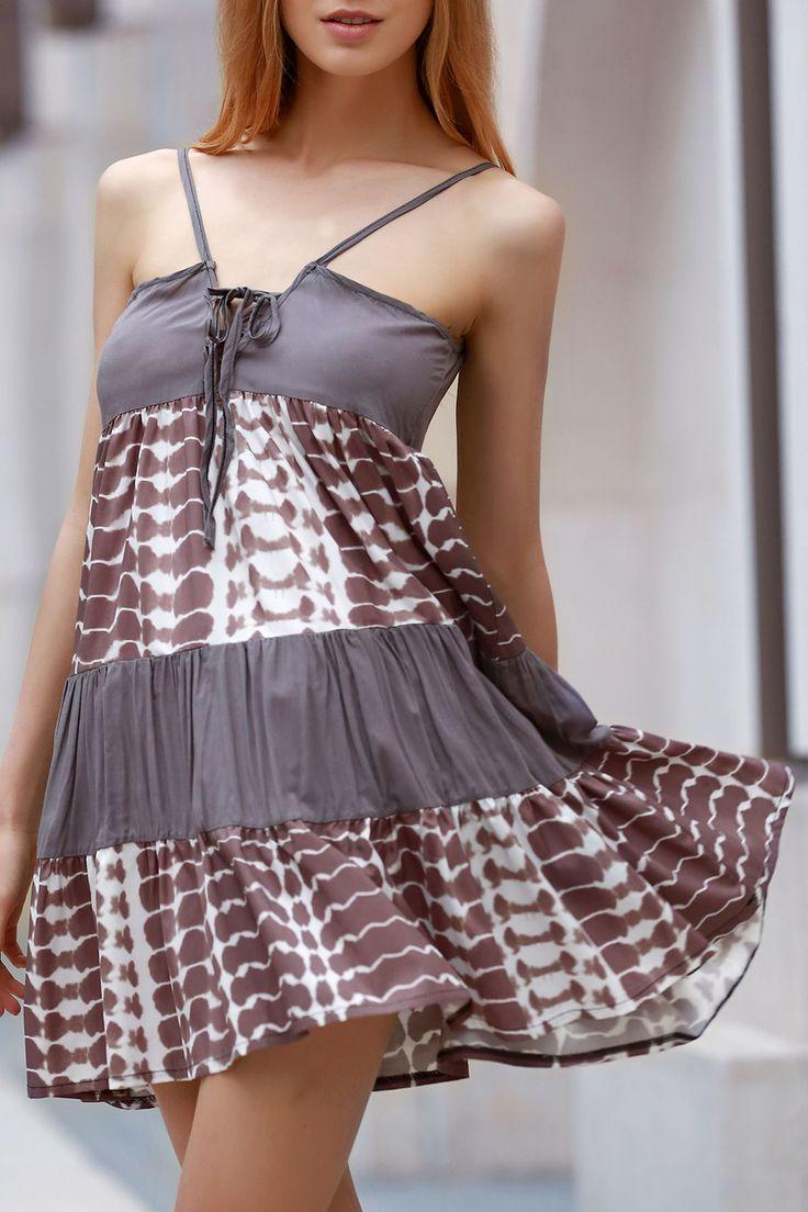 Stylish Spaghetti Straps Printed Lace Up Dress