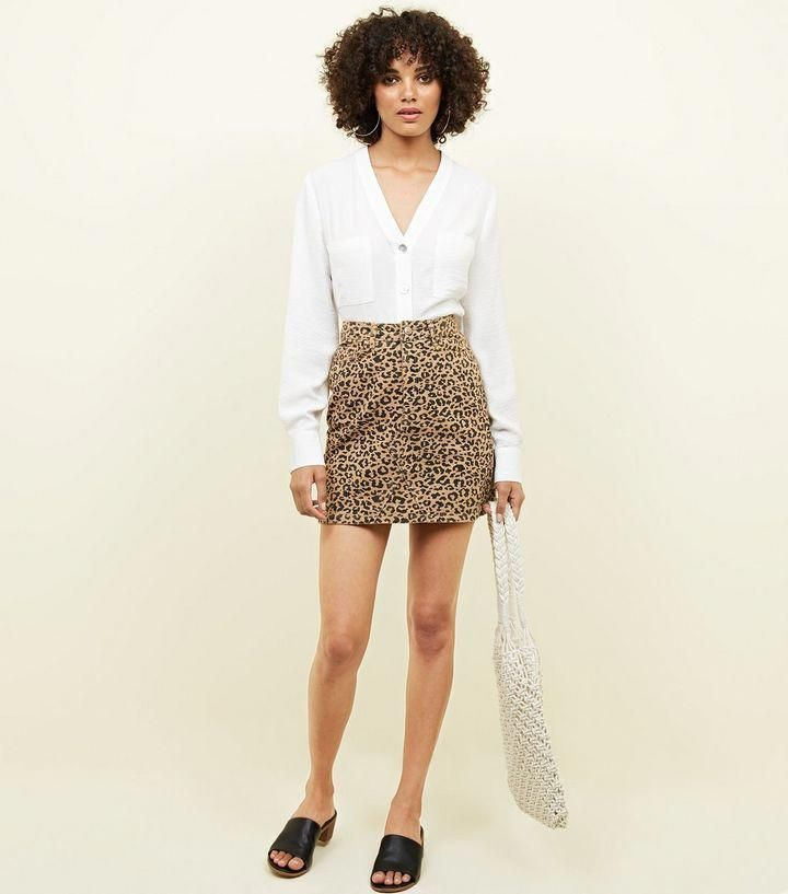 high quality materials outlet boutique how to find Tan Leopard Print Denim Mini Skirt | New Look ...