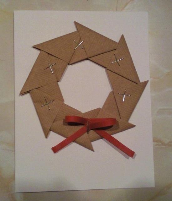 Office Supply Origami Christmas Card Origami Christmas