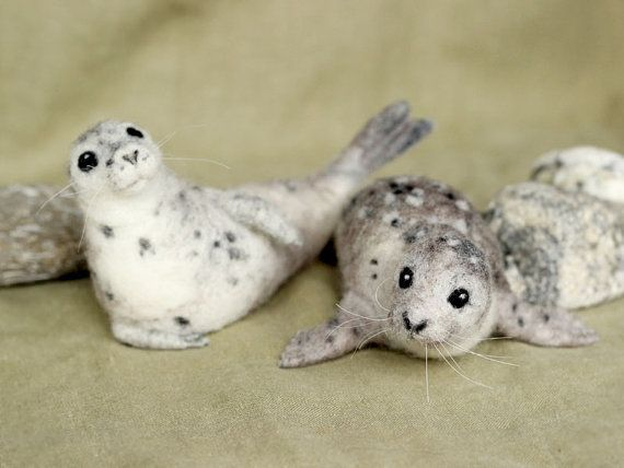 Needle felted Harbor Seal poseable felted animal by Ainigmati, $120.00