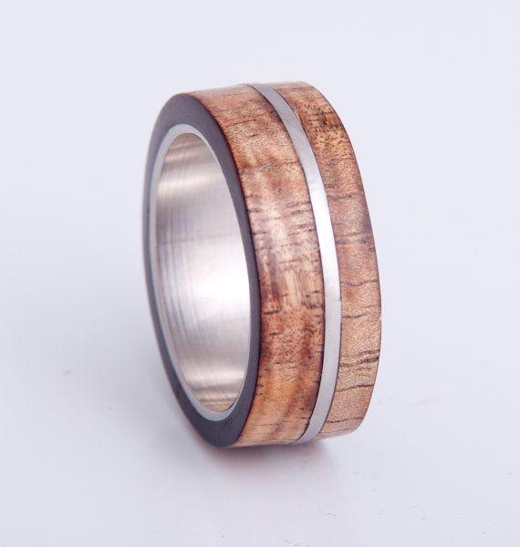 mens wedding ring with curly hawaiian koa wood inlay, woman wedding ring