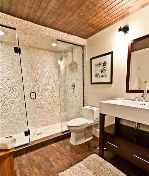 Creative Bathroom Shower Ideas Using Wood And Stone On