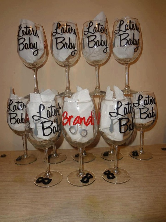 50 Shades Of Grey wine glass by ItsAllInANameGifts on Etsy, $12.00