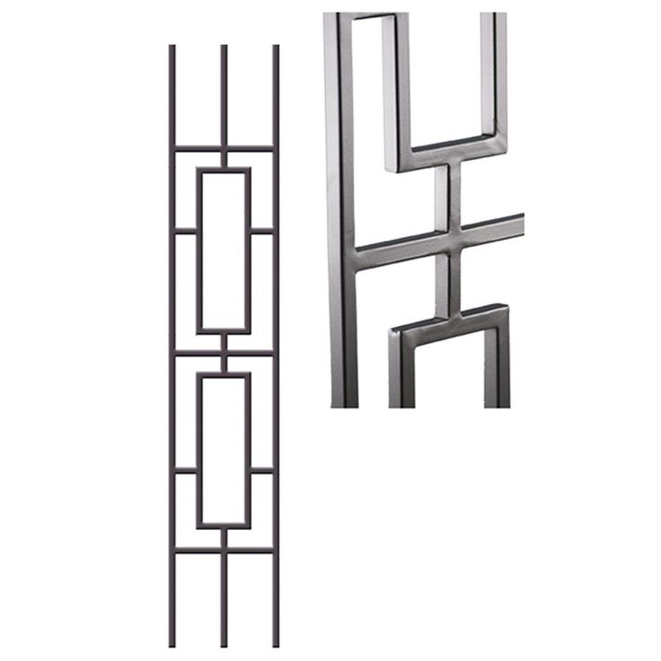 HOUSE OF FORGINGS Aalto Modern 46 in. x 0.5 in. Ash Grey Double Rectangular Rake Panel Hollow Wrought Iron Baluster