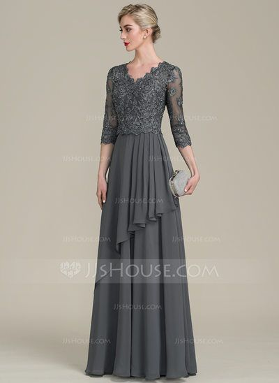 A-Line/Princess V-neck Floor-Length Beading Sequins Cascading Ruffles Zipper Up Sleeves 1/2 Sleeves No Steel Grey General Plus Chiffon Lace Height:5.7ft Bust:33in Waist:24in Hips:34in US 2 / UK 6 / EU 32 Mother of the Bride Dress