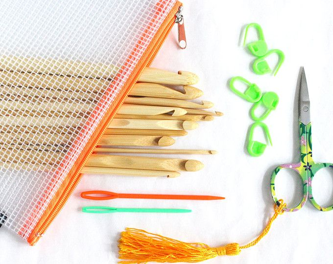 Etsy: Crochet set, kit, with bamboo crochet hooks, plastic yarn needles, embroidery scissors, mesh zipper pouch bag, stitch markers, colorful crochet set. Natural wooden crochet hooks. Etsy store Novelsnob