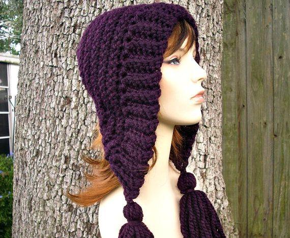 Womens Crochet Hat Womens Hat Crochet Hood Tassel Hat by pixiebell