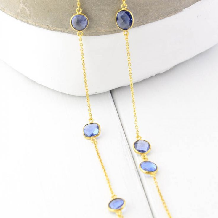 Cuff and Stone Gold Tone Drop Necklace with Blue Iolite Gemstone