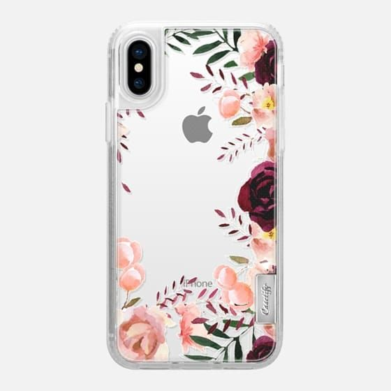 Casetify iPhone X Classic Grip Case - Purple floral case by Priyanka Chanda