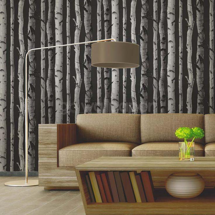 Fine Decor Distinctive Birch Tree Wallpaper - Charcoal Grey - http://godecorating.co.uk/fine-decor-distinctive-birch-tree-wallpaper-charcoal-grey/