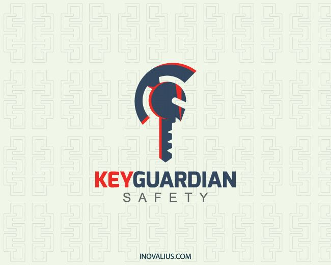 Key Guardian is a logo in the shape of a medieval helmet together with a key with red-orange and dark blue colors.(security, key, safety, gym, academy, protection, safeguard, guard, medieval, helmet, consulting, key lock, history, safe sites, logo for sale, logo design, lototipo, logotype).