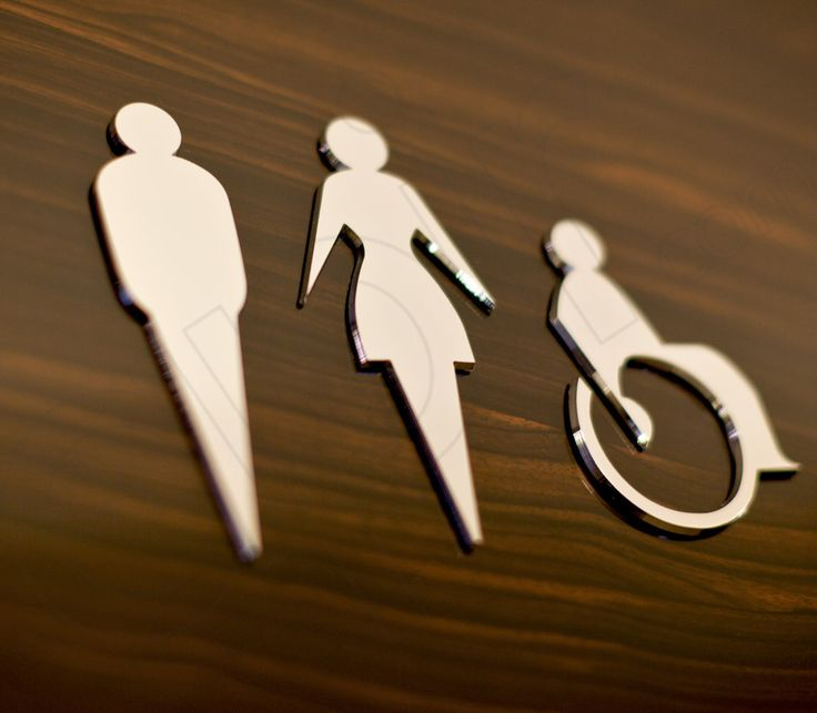 Simbolo Uomo, donna e disabile in acciaio ludico