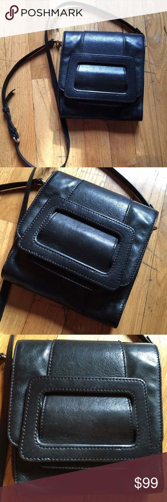 DVF Black Leather Mod Large Buckle Handbag DVF Bag stunning and is made of leather with a large buckle atop and 3 compartments inside lined and lightly worn - so cute Diane Von Furstenberg Bags
