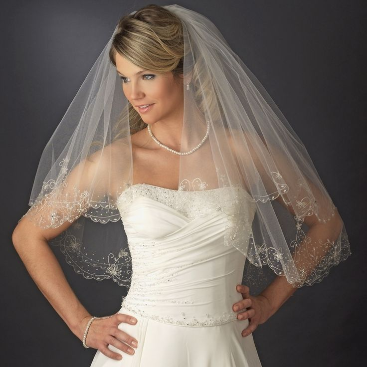 Double Layer, Beaded & Embroidered Edge Fingertip Bridal Veil